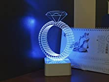 buy Hideeled Optical Illusion Touch Control 3D Table Lamp, Blue Color With Various Design (Diamond Ring)