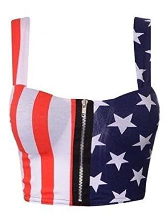 Crazy Girls Womens USA American Flag Stars & Stripes Leggings Bralet