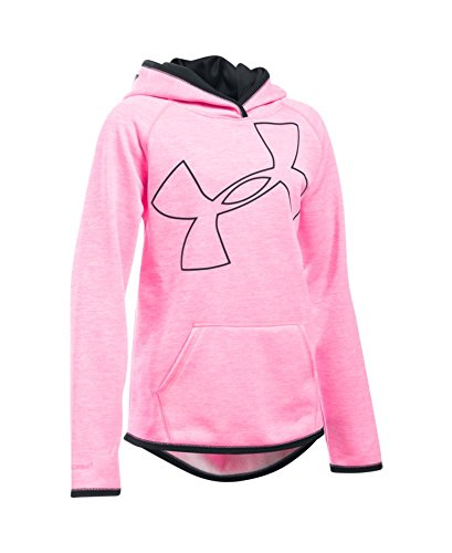 Under Armour Girls' Armour Fleece Novelty Jumbo Logo Hoodie, Pink Punk (640), Youth Large