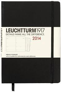 Leuchtturm1917 343711 Agenda Semainier 2014 A5 en Anglais avec Cahier supplémentaire Noir