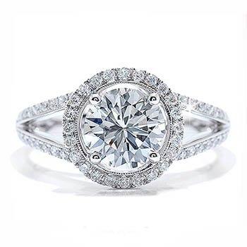1.50Ct Round Diamond Accent Engagement Ring 18k Gold Hallmarked