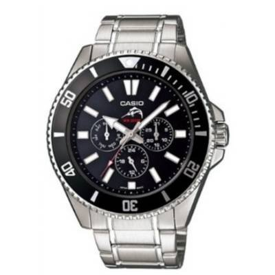 Casio MDV303D-1A1V Mens Silver Stainless-Steel Black Dial Watch