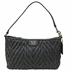 Coach Madison Chevron Nylon Demi Hobo Zip Wristlet Bag 46716 Black