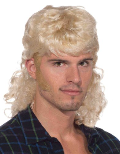 Adult Short Blonde The Enforcer Redneck Costume Mullet Curly Wig
