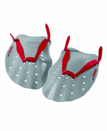 Speedo Contoured Swim Paddles (Grey/Red, Medium)