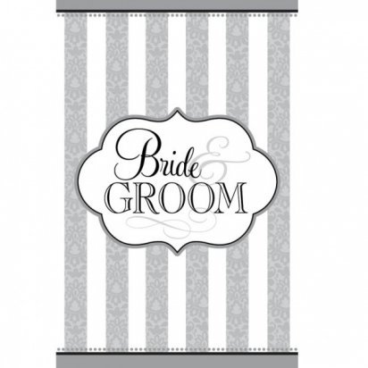 The Bride & Groom Paper Tablecover 54 by 102 Border Design with Printed Solid Center Party Supply