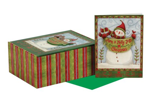C.R. Gibson Holiday Card, Holly Jolly Christmas, Box of 15