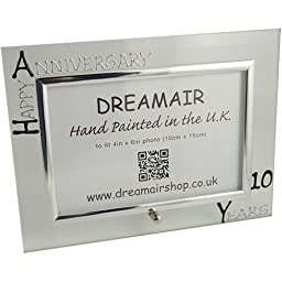10th Year Wedding Anniversary Photo Frame (L) ( Black/Silver) [Kitchen] by Dreamair