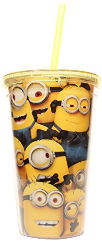 Silver Buffalo DM07087 Despicable Me Cluttered Minions Cold Cup with Lid and Straw, 16-Ounce, Yellow