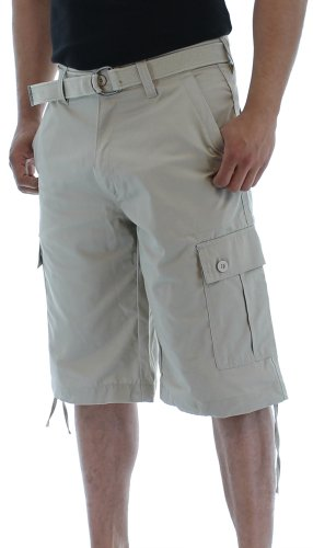 Moda Essentials Men's Belted  Cargo Shorts,stone,Size 40 Picture
