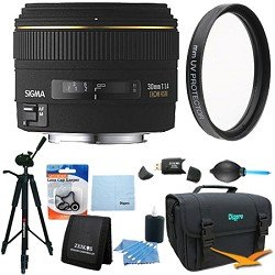 Sigma 30mm f/1.4 EX DC HSM Autofocus Lens for Nikon DSLR Cameras - Lens Kit Bundle
