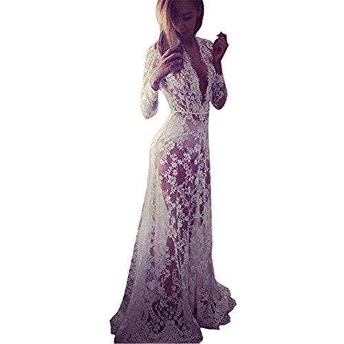 Fedi Women White Summer beach Lady Party Cocktail Lace Floral Long Maxi Dress Formal Gown