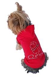 Anima Red Short Sleeve Poly Cotton Hoodie with Rhinestone Logo on Back, Medium