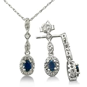 Sapphire and Diamond Pendant and Earrings Ensemble Crafted in Sterling