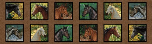 Wild Wings Endless Summer Horse Head Block Fabric by The Yard, 43/44-Inch Wide, Multi-Colored