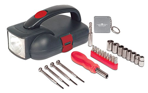 26 Pcs Flashlight Household Tool Kit Includes Miniature Screwdriver Set, Tape Measure, Socket Set, Driver Handle and Screwdriver Bits Ideal for Emergencies, Home Repair and DIY by Perfect Life Ideas (Small Tool Set For Car compare prices)
