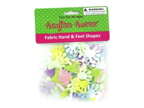 Fabric hand and feet shapes for crafting, assorted colors - Pack of 48