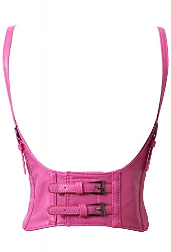 Alivila.Y Fashion Faux Leather Underbust Waist Belt Corset AS577-Hot Pink