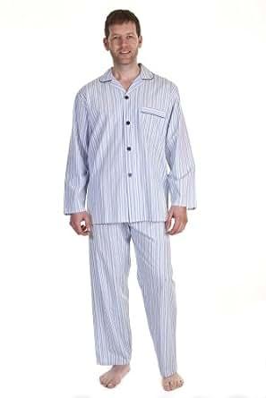 Vêtement de nuit pour hommes/gentlemens Haigman, ensemble pyjama manches longues avec bouton sur le devant, rayure et damier, fil teint, 100% coton, Rayures Bleu vif XX Large
