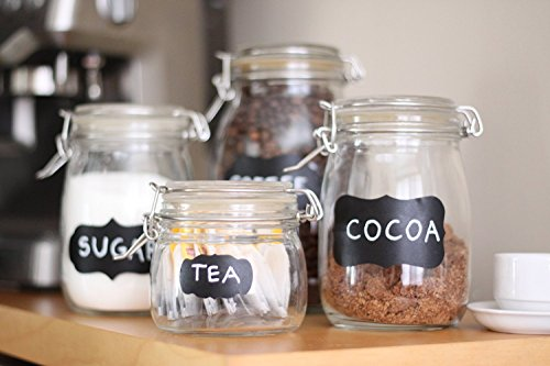 96 Chalkboard Labels + 2 White Chalk Markers With 6 mm Reversable Tips Bullet & Chisel-Best For Pint Mason Jars, Bottles and Great For Your Home and Office (Oval Cookie Jar compare prices)
