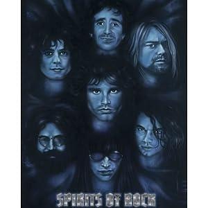 Spirits of Rock (Jim Morrison Jerry Garcia Kurt Cobain Joey Ramone Keith Moon Hutchence) Poster Mini Poster Mini Poster Print, 16x20