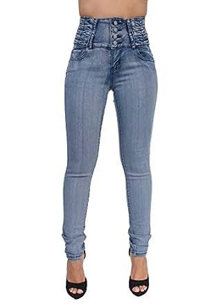 High Rise Butt Lift Colombian Style Skinny Leg Jeans By Crocker CR-M616LBLU (0)