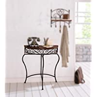 Boston Metal Half Moon Console Table w/ Wood Top, Scroll Accent, Dark Brown Product SKU: HD223560