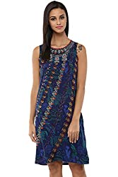 Akkriti by Pantaloons Women's Straight Dress ( 205000005637705, Blue, Medium)