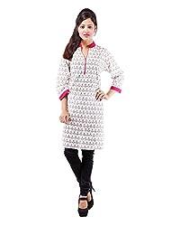 Albelishop Women's Cotton V-Neck Kurti (FI014_XL, Red, XL)