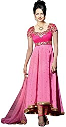 Clickedia Women & Girls Embroidered High Low Semi-stitched Georgette salwaar suit Anarkali dress Material with contrast churidaar and empire top
