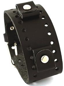 Nemesis #BN-K Black Wide Leather Cuff Wrist Watch Band