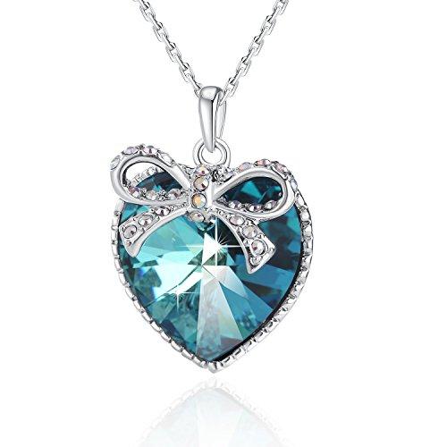 """PLATO H Cuore Collana pendente della farfalla con cristallo Swarovski regalo di Natale per lei, 18 """", Ocean Blue"""