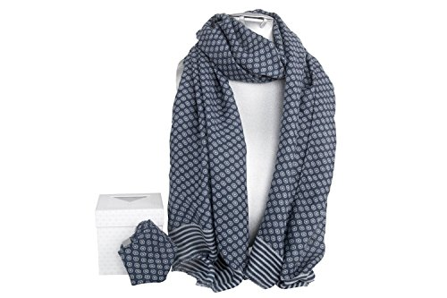 Completo uomo sciarpa e pochette LANCETTI blu in box confezione L1684
