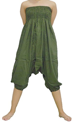 Loongcha Women's 100% Rayon Baggy Aladdin Hippy Yoga Harem Pants Smocked Waist (Olive Green)