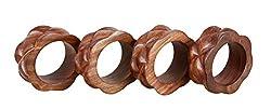 Shalinindia Handmade Wood Napkin Ring Set With 4 Napkin Rings - Artisan Crafted in India
