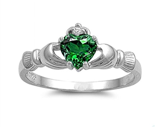 Sterling Silver Claddagh Ring - Emerald Color Cubic Zirconia