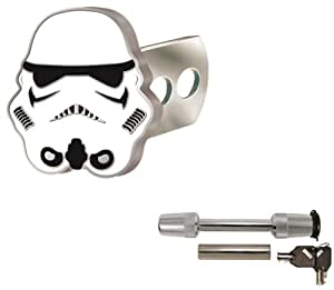 Star Wars Storm Trooper Solid Metal Brushed Chrome Hitch Plug Receiver Cover & Universal Receiver Hitch Pin Lock