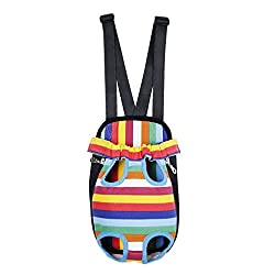 Imported Nylon Pet Dog Cat Carrier Backpack Front Tote Carrier Net Bag Rainbow S