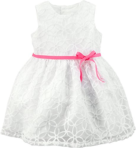 Carters Baby Girls Embroidered Lace Dress 9 Months White