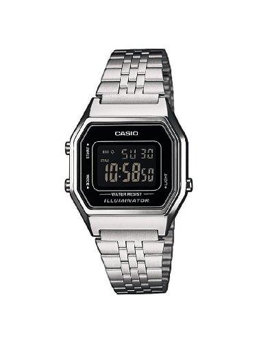 Casio LA680WEA-1BEF - Reloj digital de cuarzo para mujer con correa de acero inoxidable, color plateado