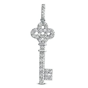 14k .71 Dwt Diamond White Gold Key Charm 38mm - JewelryWeb