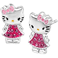 Hello Kitty Stud Earrings with Crystal Sterling Silver