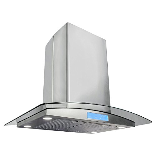 Cosmo 30 in. Ducted Island Range Hood with Tempered Glass Visor, LCD Display Touch Control Panel Island Mount Kitchen Vent Cooking Fan Range Hood with Permanent Filters and LED Lighting (Kitchen Exhaust Fan Vent compare prices)