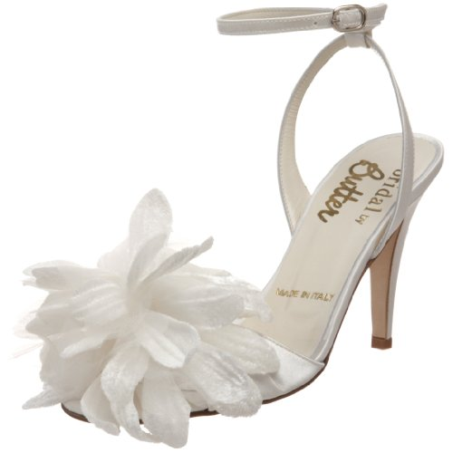 Rev Butter Women's Cactus Ankle-Strap Sandal,White Satin,6.5 M US