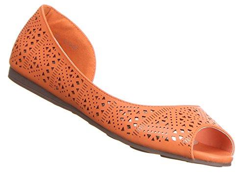 Damen Schuhe BALLERINAS SOMMERLICHE SLIPPER Orange