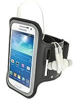 igadgitz Noir Brassard Sports Antidérapant Réfléchissante pour Samsung Galaxy S4 SIV MINI I9190 I9195 Armband Jogging Salle de Gym Avec Poche à Clé