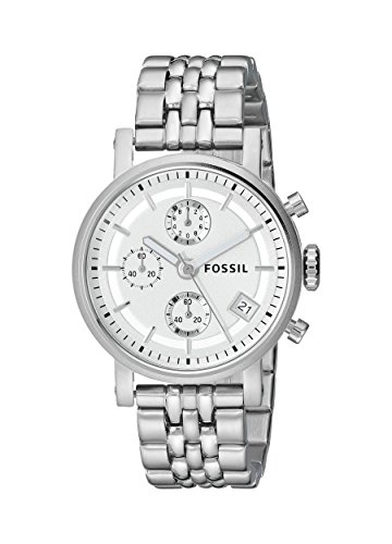 Fossil ES2198 Ladies Boyfriend Chronograph Watch with Steel Bracelet and Silver Dial