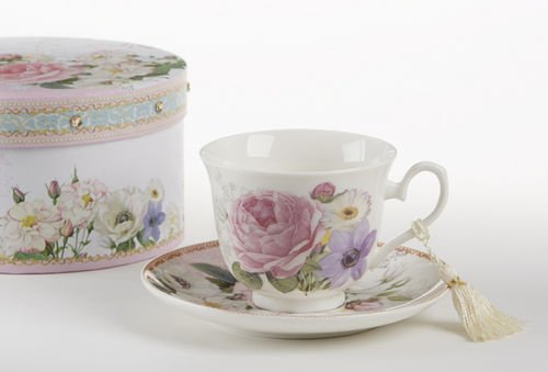 Delton Products Porcelain Adult Size Cup & Saucer with Matching Keepsake Box, Pink/Rose