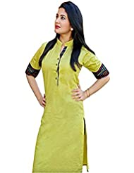 Aracruz Women's Designer Party Wear Collection Low Price Sale Offer Green Color Plain Cotton Top Tunic Dresses...