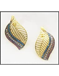 E-designs Rhodium / Gold Plated Earring With CZ Stone Alongwith Colour Stones Studded For Women - B00HNMOCHU
